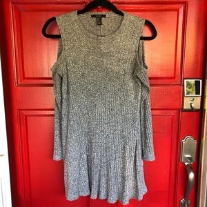 NWOT Gray Forever 21 Cold Shoulder Dress